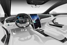 Hingucker am Cockpit ist nach Emre Husmens Vorstellung ein riesiger, gewölbter Bildschirm. © Elektroautomobil / Emre Husmen