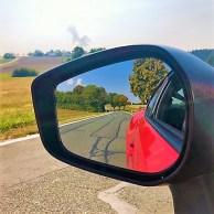 Im Rückspiegel des Subaru BRZ. Foto: Klaus H. Frank