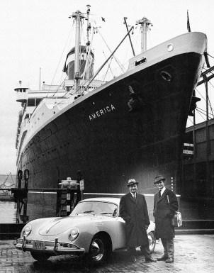 Ferry Porsche und sein Sohn Ferdinand Alexander mit einem Typ 356 A in New York (1958). Foto: Auto-Medienportal.Net/Porsche