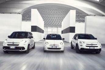 """Gestatten, Fiat 120th (v. l.): 500L, 500 und 500X im """"Jubiläums-Smoking"""" zum 120. Geburttags der italienischen Marke. © FCA"""
