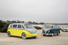 Volkswagen Bulli: ein T1 als Samba-Express und die nächste Generation, der ID Buzz. Foto: Auto-Medienportal.Net/Volkswagen