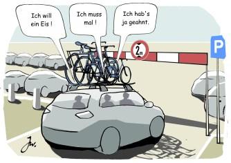 Ein kritisches Maß an Aufmerksamkeit darf beim Fahrräder-Transport nicht unterschritten werden. © Goslar Institut