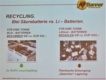 Gewinn- oder Unkosten-bringend ist das Recycling von Bleisäure- oder Li-Batterien.