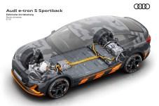 Kraftwerk im Keller: Die an der Bodenplatte ruhende Batterie und die drei Elektromotoren (einer vorn, zwei im Heck) kümmern sich um zügigen Vortrieb. © Audi
