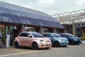 Die elektrische 500er-Familie (v. l..): 3+1, Cabrio und Limousine. © FCA