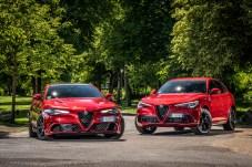 Ungleiches Paar mit vielen Gemeinsamkeiten: Alfa Romeo Giulia (links) und Stelvio Quadrifoglio greifen auf die gleichen sportiven Gene zurück. © Alfa Romeo