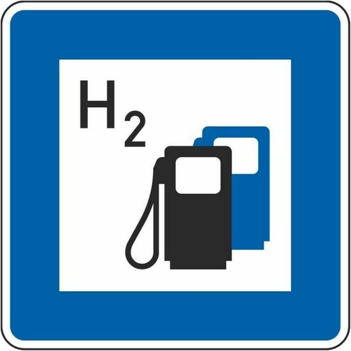 Verkehrszeichen Wasserstofftankstelle. Foto: Auto-Medienportal.Net/Bundesverkehrsministerium
