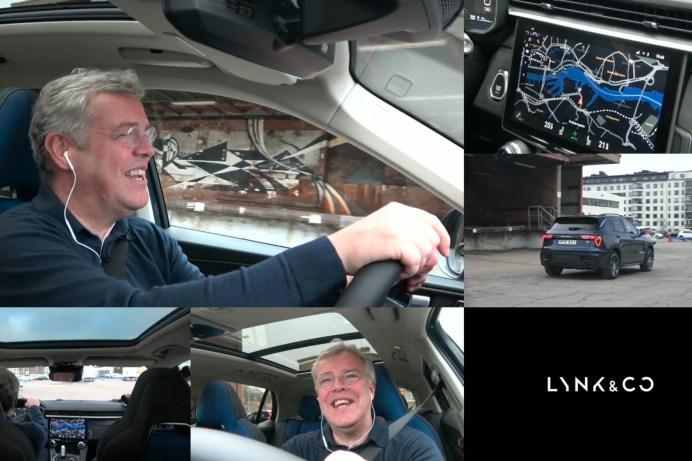 Lynk & Co-Chef Alain Visser bei seiner online aus vielen Blickwinkeln gezeigten Live-Testfahrt durch Göteborg. © Lynk & Co