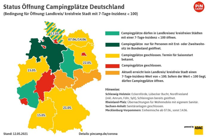 Jedes Bundesland öffnet die Campingplätze unter bestimmten Bedingungen. Diese weichen leicht voneinander ab. © ADAC