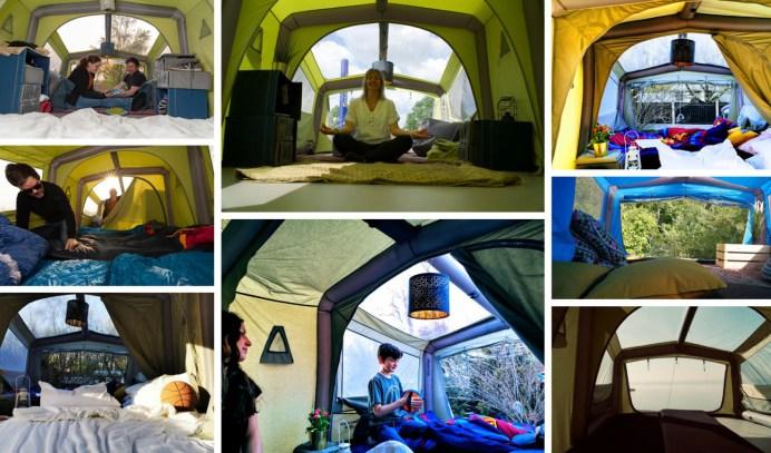 Der österreichische Anbieter Gentle Tent bietet mit dem GT Sky Loft ein riesiges Dachzelt, es wiegt nur 49 Kilogramm mit Platz für fünf bis sechs Personen und soll auf alle größeren Pkw, Vans und Kastenwagen passen. © Gentle Tent
