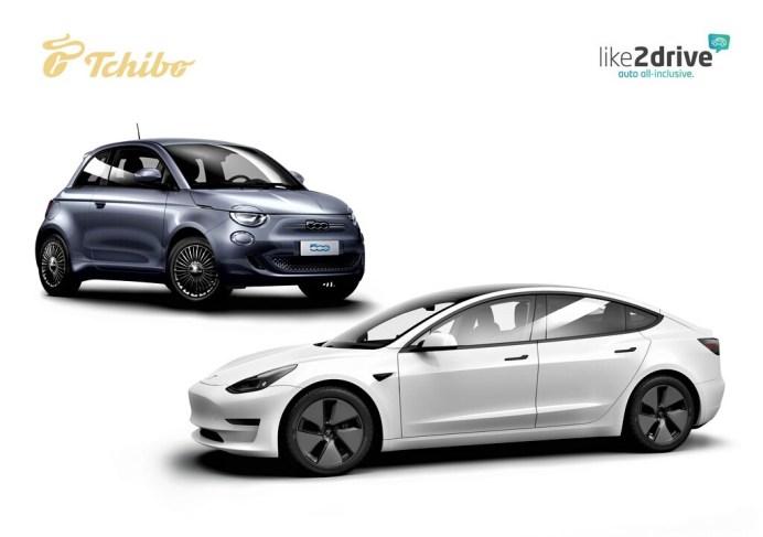 Tchibo steigt in Geschäft mit Auto-Abos ein. Im Angebot sind zunächst die beiden Elektroautos Fiat 500e und Tesla Model 3. Foto: Auto-Medienportal.Net/www.presseportal.de/Tchibo