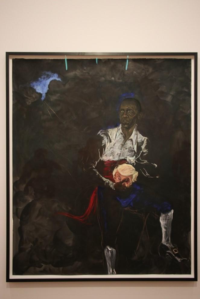 Hier das Gemälde mit Barack Obama in Othello. © Kurt Sohnemann