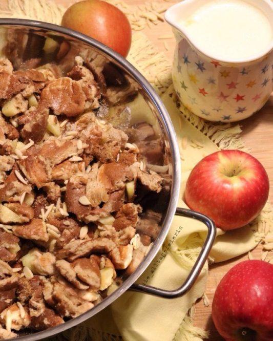 Apfelkaiserschmarrn, Vanillesoße, was koche ich heute, Kaiserschmarrn, Seelenfutter, was koche ich heute, Speiseplan, Wochenplan, Freebie