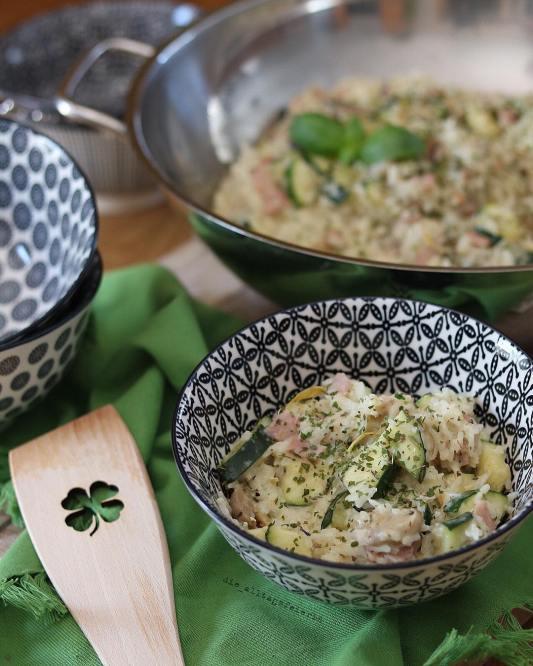 Frischkäse-Reispfanne mit Schinken, Speiseplan, Essenplan, Wochenplan, Freebie, Reis, Frischkäse, Pilze