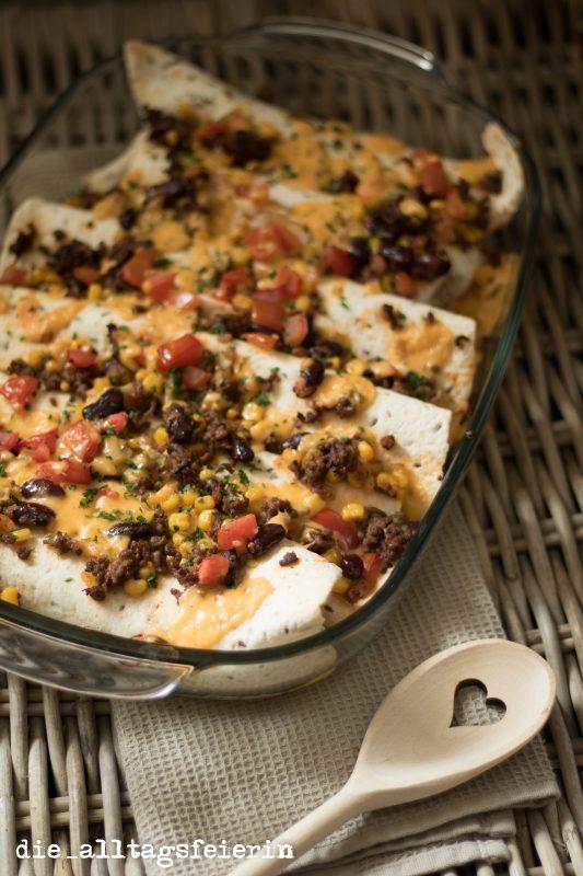 Tex-Mex-Wraps, mexikanisch, Familienküche, aus dem Ofen