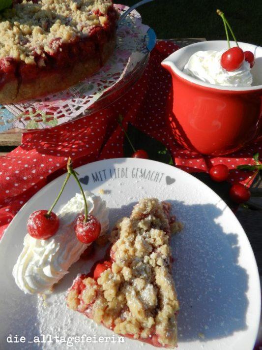 Kirsch-Streusel-Kuchen, backen, Sauerkirschen, Streuselkuchen, Kuchen- und Tortenrezepte