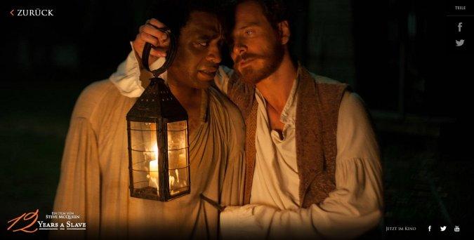 Solomon Northup (Chiwetel Eijofor, left) und Edwin Epps (Michael Fassbender). Screenshot:pb/Tobis