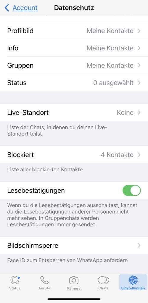 Datenschutzeinstellungen bei WhatsApp