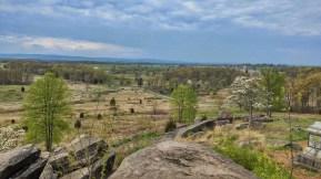 Blick vom Little Round Top, dem Huegel, der nur knapp von der Union am 2. Tag verteidigt werden konnte