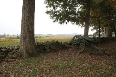 Blick von der Seite der Konförderierten auf die Hügel Little und Big Round Top
