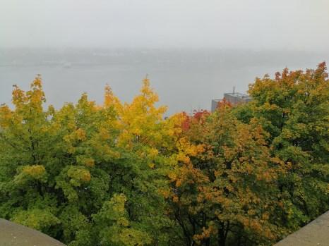Nebel und Indian Summer am St. Lorez Strom in Quebec