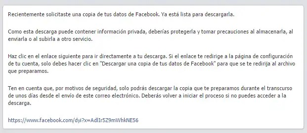 copia seguridad mail facebook