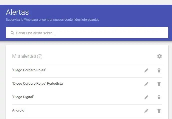 Interfaz alertas de google monitoreo de marca