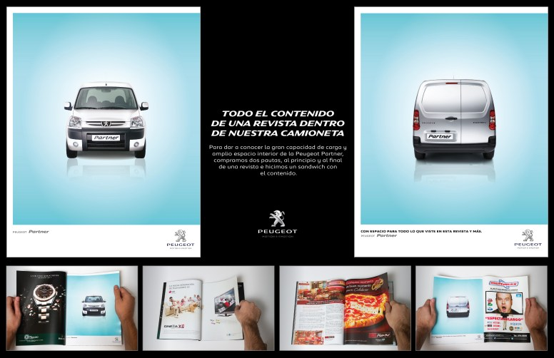 Todo Cabe en una Peugeot Partner --- The whole content of a magazine fits into a Peugeot Partner... To demostrate the high load capacity of the Peugeot Partner, we placed two ads in magazines: one at the beginning and one at the end, making a sandwich with the whole content.