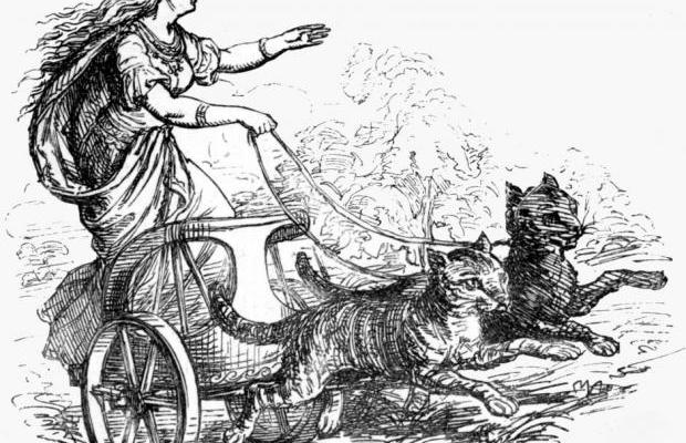 freyja riding with her cats 1874