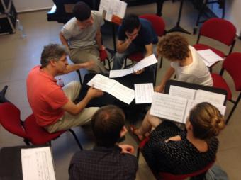 Guy Feder (first from the left) working on my piece with Helena Cánovas Parés and the rest of student conductors.