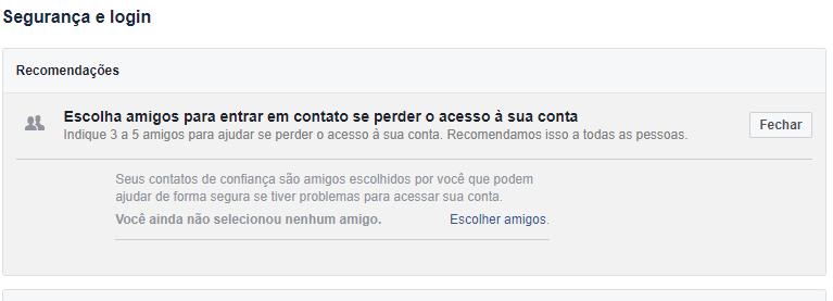 Recurso de segurança Facebook