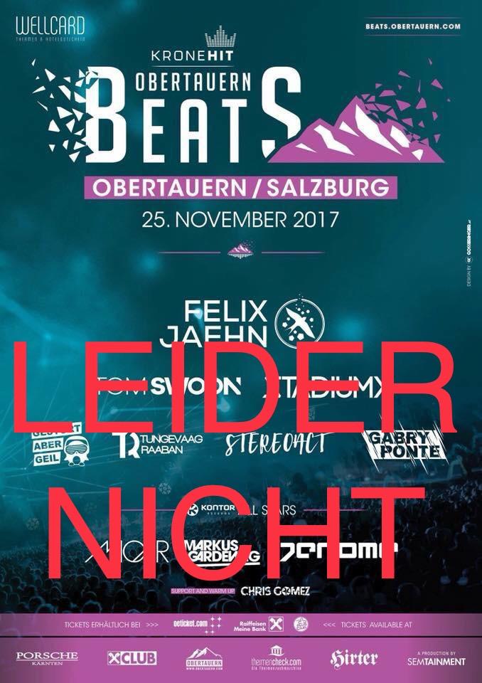 """""""Leider nicht"""" heißt es bei der Veranstaltung """"Obertauern Beats"""". Der Event wurde vom Veranstalter kurzfristig abgesagt."""