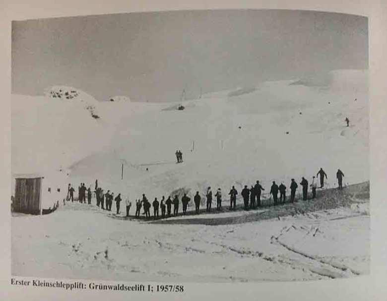 Der erste Kleinschlepplift der Gebrüder Krings in Obertauern, der Grünwaldseelift im Jahr 1957/58!