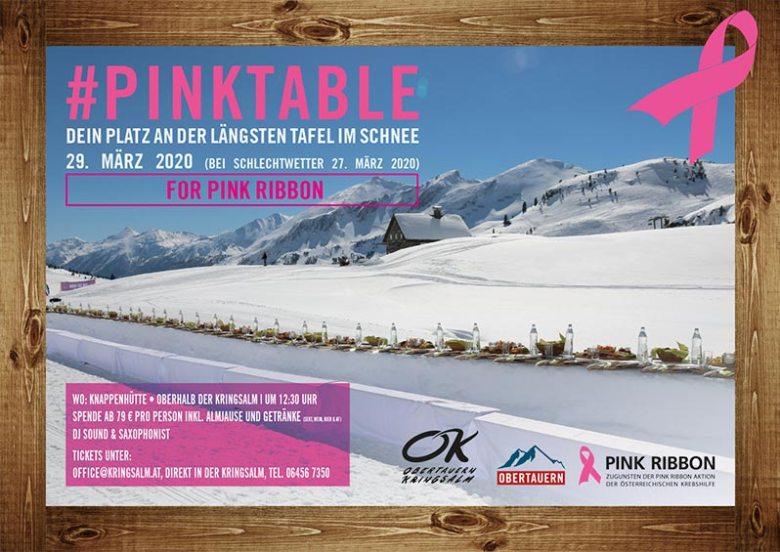 Charity in Obertauern: Mit dem #Pinktable lädt die Kringsalm Obertauern zur längsten Genusstafel der Alpen.