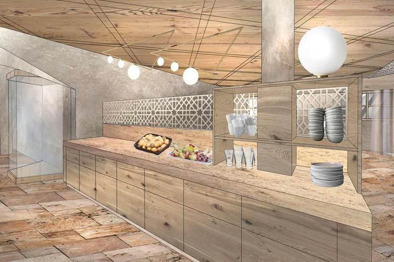 Der neue, großzügig dimensionierte Buffetbereich im Hotel Das Seekarhaus. Visualisierung: Hotel Das Seekarhaus