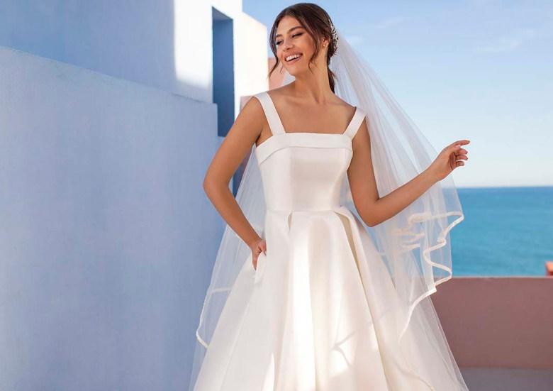 Brautmoden-Klassiker werden neu interpretiert und sorgen auch im Jahr 2021 für zauberhafte Silhouette und Momente strahlender Glückseligkeit. Im Bild: Das Modell HELEN der White One-Kollektion 2021. Foto: Pronovias