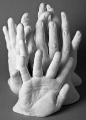Gipsabformungen von Händen Kölner Bauarbeiter