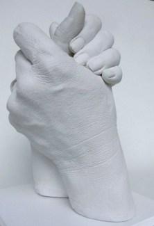 Gipsabdruck von Händen: Vater und Sohn