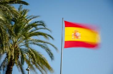Foto von wehender spanischen Flagge und Palmen in Alicante.