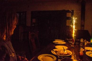 Foto eines Tischfeuerwerks.