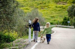 Foto von zwei Kindern, die mit einem Hund spazieren gehen.