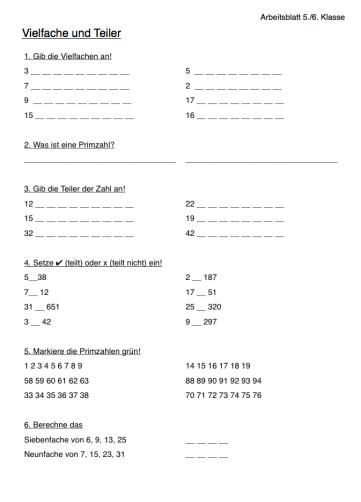 Arbeitsblatt Mathe Vielfache und Teiler
