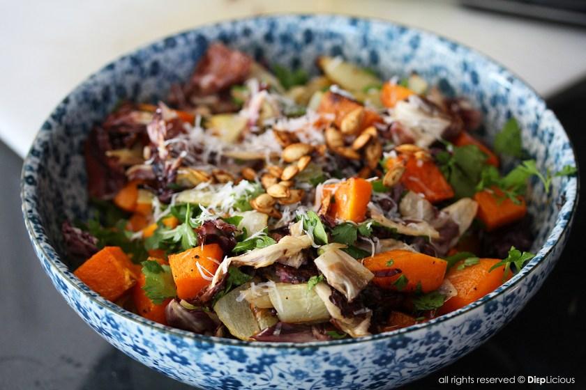 Roasted butternut squash and raddichio salad