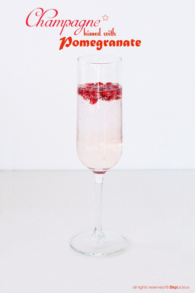 champagne kissed with pomegranate