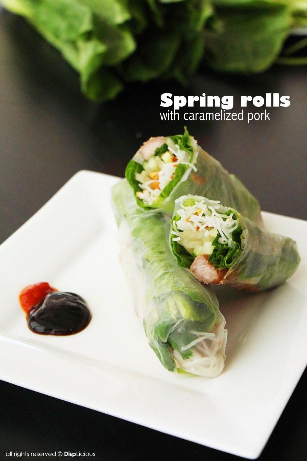 Spring rolls with caramelized pork