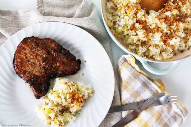 pork chop and fried rice