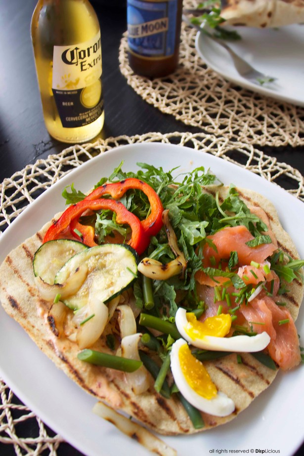 flatebread-vegetables-eggs-salmon