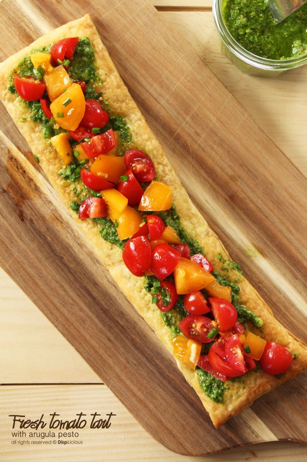 Fresh tomato-pesto tart