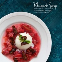 RHUBARB SOUP WITH ICE CREAM & FIGS