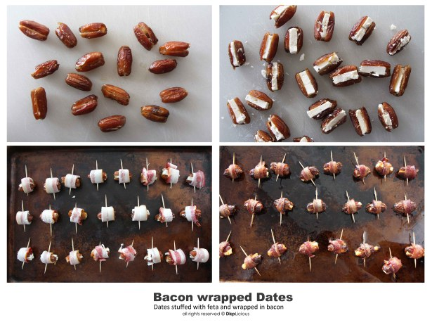 Bacon wrapped dates with feta directions